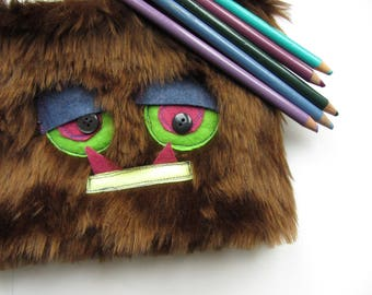 Upcycled Furry Monster Pencil Case, Monster Pen Case, Kitschy Make Up Bag, Small Pouch, Monster Pencil Pouch, Grouchy Monster, Pencil Bag