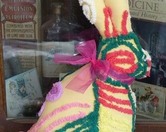 Vintage Chenille Bedspread Big Beautiful Bunny Rabbit pillow