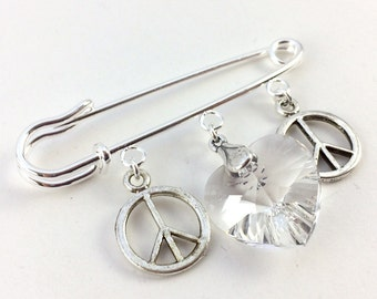 Safety Pin Ally Brooch - Peace and Love Silver & Crystal Heart Pin