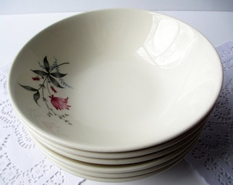 Vintage Cereal Soup Bowls Canonsburg Larkspur Citation Fuschia Gray Floral Set of Six