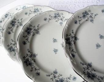 Vintage Salad Plates Haviland Blue Garland Set of Four - Weddings Bridal