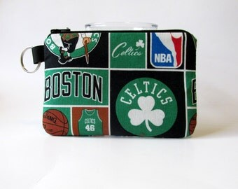 Handmade small pouch with zipper - split key ring - Boston Celtics - basketball NBA coin purse - makeup bag - credit cards - ready to ship