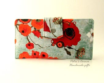 Handmade women wallet clutch - red poppy - ID clear pocket - Ready to ship - red floral  - gift ideas for her - Birthday gift