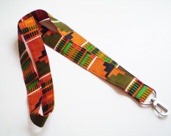 Orange African Lanyard, Orange Kente Lanyard, African Key Holder, African ID Badge Holder, Kente Lanyard, Ethnic Lanyard