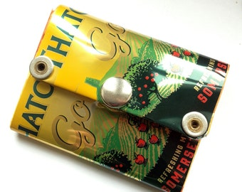 Small Purse / Wallet, Recycled Can - English Cider, Thatchers Gold, Yellow with Red Apples, Real Cider Drinker, Eco Friendly Gift