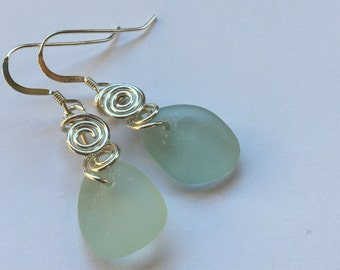 Sea Glass Earrings wired Seaglass jewelry beach glass SS  earrings SS wire Jewelry, Handmade Custom Jewelry