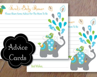 Mod Elephant Advice Cards, Baby Shower Wishes or Advice for Baby,  Set of 12 Professionally Printed
