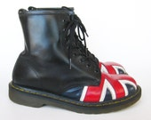 Vintage Doc Martens Black Leather Lace Up Union Jacket Engineer Boots UK 7, Mens 8, Wms 9