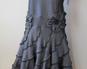 This is a dark silver color trending ruffled stretch tank dress with roses decoration. (vn2)