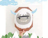 Yeti wall trophy, Bigfoot plush taxidermy, stuffed animal, abominable snowman whimsical nursery decor