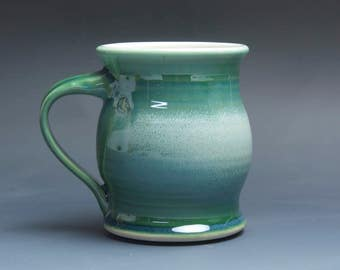 Sale - Pottery coffee mug, ceramic mug, stoneware tea cup jade green 16 oz 3907