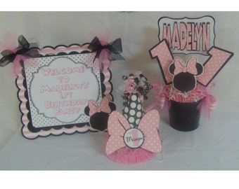 Minnie Mouse Ultimate Birthday Party Package Disney, Happy Birthday Banner Minnie Mouse Pink polka dot