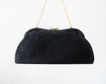 Vintage 1950's Black Clutch Purse / Midnight Crepe Classic Handbag Formal Evening Bag