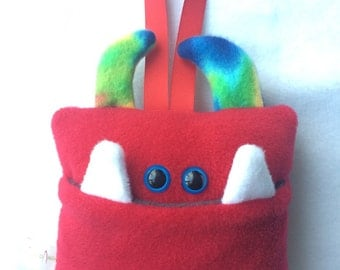 Tooth Fairy Pillow   Red and Tie Dyed Tooth Monster   Tooth Fairy Monster Pillow