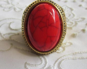 Vintage Brass Fancy Large Ring with Large Red and  Black Lined Stone