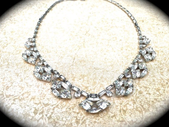 Scalloped Rhinestone Choker Necklace, unique vintage necklace