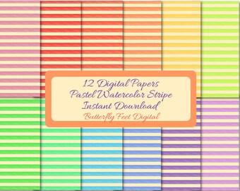 Watercolor Stripes Digital Paper, 12 Printable Sheets, Scrapbooking, Card Making Designs, Paper Crafting, Instant Download
