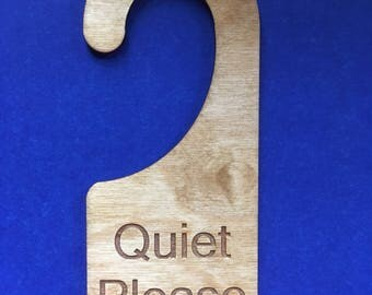 Wood Door Knob Hanger - Quiet Please