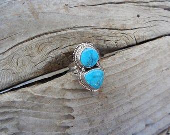 ON SALE Beautiful two stone turquoise ring handmade in sterling silver 925 with two turquoise stones from the Kingman mine