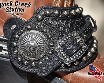 Spur Straps, Comanche Moon, Fully Lined, Handmade in Arizona USA