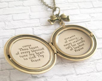 Come Thou Fount of Every Blessing Hymn Quote Locket Necklace Vintage Inspired Christian Jewelry Blue Flower Rose Pendant