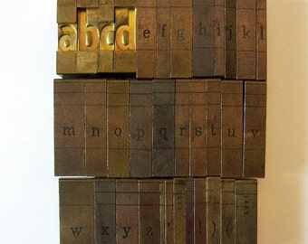 ON SALE Vintage Ludlow Mats Matrices Brass A to Z Lowercase 34 Piece Complete Tempo Bold Condensed 60 pt Printing Type