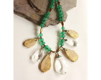 Long Chunky Green and Gold Teardrop Statement Necklace, One of a Kind, Ancient Treasure