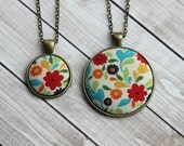 Retro Jewelry, Floral Fabric Pendant, Cute Necklace, Colorful Jewelry, Rainbow Boho Necklace, Flowers, Red, Yellow, Blue, Green, Orange