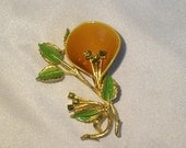 20 % Off Butterscotch Calla Lilly Brooch with Peridot Color Rhinestones Vintage
