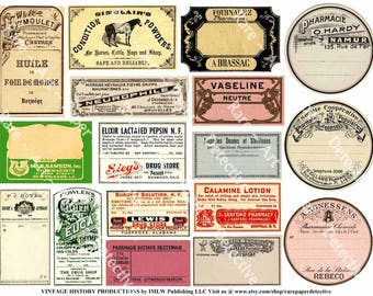 Druggist Labels, Digital Sheet, Pharmacy Pill Bottle Labels, Antique Apothecary Labels, French Label, Pharmacist, Art Papers, Clip Art, 447