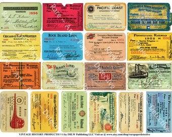 Railroad and Steamship Travel Passes, Digital Sheet, Transportation, Art Papers, Vintage Train Scrapbook Paper, Ticket Stub Clip Art, 460