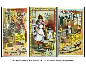 Antique Clothes Washer Trade Cards, Printed Set of 3, Vintage Advertising, Laundry Victorian Era Wringer Ad, Domestic Home Advertising, TCS6