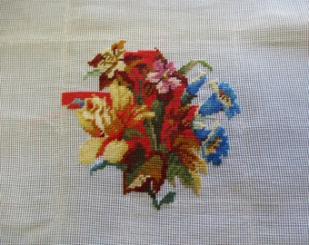 Vintage neeldlepoint canvas unfinished needlepoint canvas floral needlepint 23 inches square.