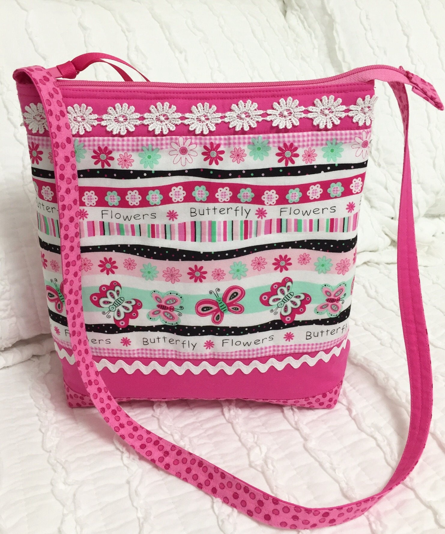 Pink Butterfly Shoulder Bag Spring Purse Girls Cloth Purse With