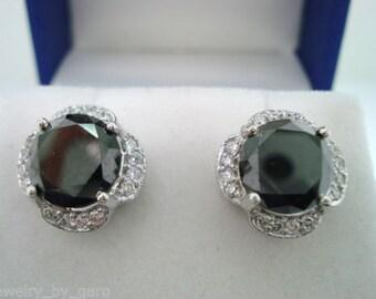 4.72 Carat Back Diamond Flower Cluster Stud Earrings 14K White Gold Halo Pave Handmade Unique