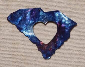 South Carolina Metal Art with Heart