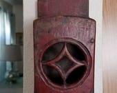 Antique Mission Red Wood Wooden Match Holder Safe Arts Crafts Carved Primitive Rustic