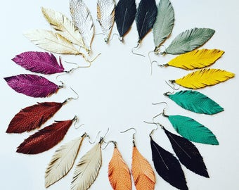 Sale! Beautiful Feather Leather Earrings- Pick your color - Leather Earrings - Feather