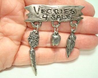 1996 Pewter Veggies Gardner Vegetable Pin.