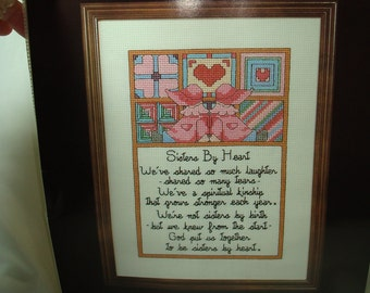 1989 JANLYNN Counting Cross Stitch Sisters By Heart Kit.
