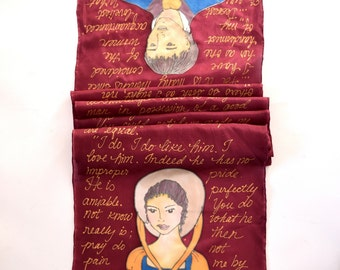 Pride and Prejudice Jane Austen Book Scarf, literary scarf,  READY to Ship