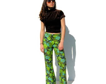 Groovy neon green and blue floral print flare trousers 1970s 70s VINTAGE