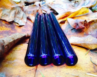 Set of 4 Cobalt Glass Drinking Straws