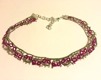 Flower Lace Choker Necklace, Pink / Purple with Green Leaves, Flower Choker, Flower Necklace, Pink Choker, Pink Necklace, Green Choker