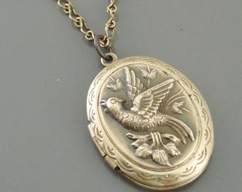 Locket Necklace - Vintage Locket -  Brass Locket - Victorian Locket - Bird Necklace - handmade jewelry