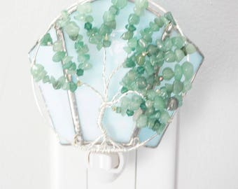 Light Aventurine Summer Tree of Life against a Blue Sky Stained Glass and Wire Wrapped Night Light with crystals
