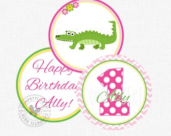 "Alligator Party Centerpiece Circles, Alligator Birthday Decorations, Alligator Table Decor, Printable 4"" Party Circles"