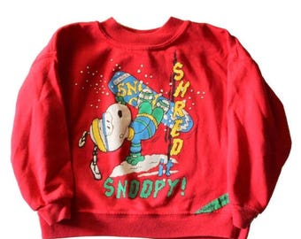 60% off sale // Vintage 80s Shred it Snoopy Snowboard Peanuts Christmas Sweater // made in America, Kids 5 // Childrens Sweatshirt