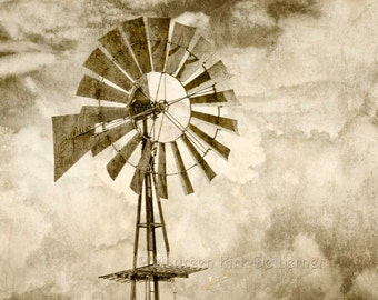 Ranch Windmill, large photo, windmill photograph, sepia, old windmill, southwestern decor, western decor, country decor, blue, farm, west