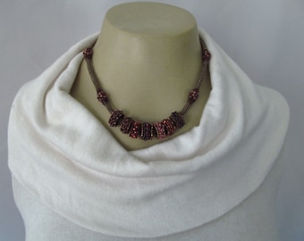 Beaded Bead Necklace, Hand Beaded Chain